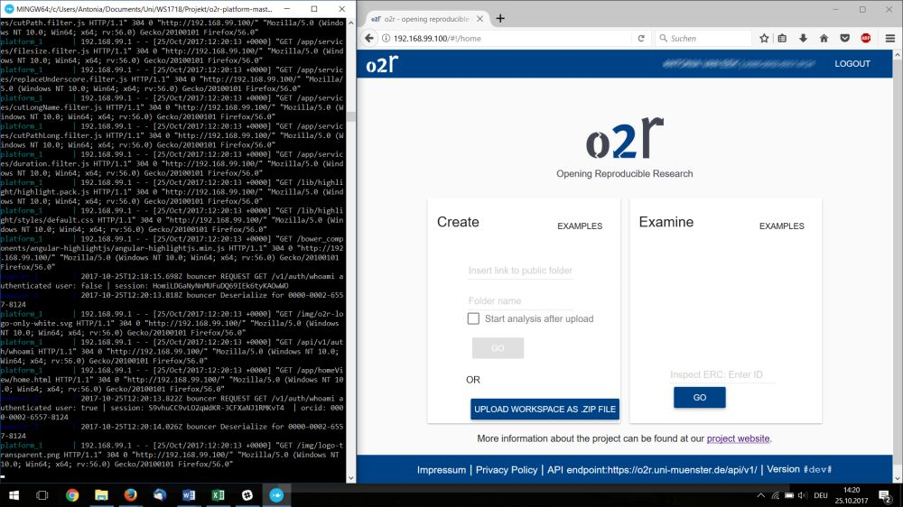 o2r screenshot: Windows 10 with Docker Toolbox