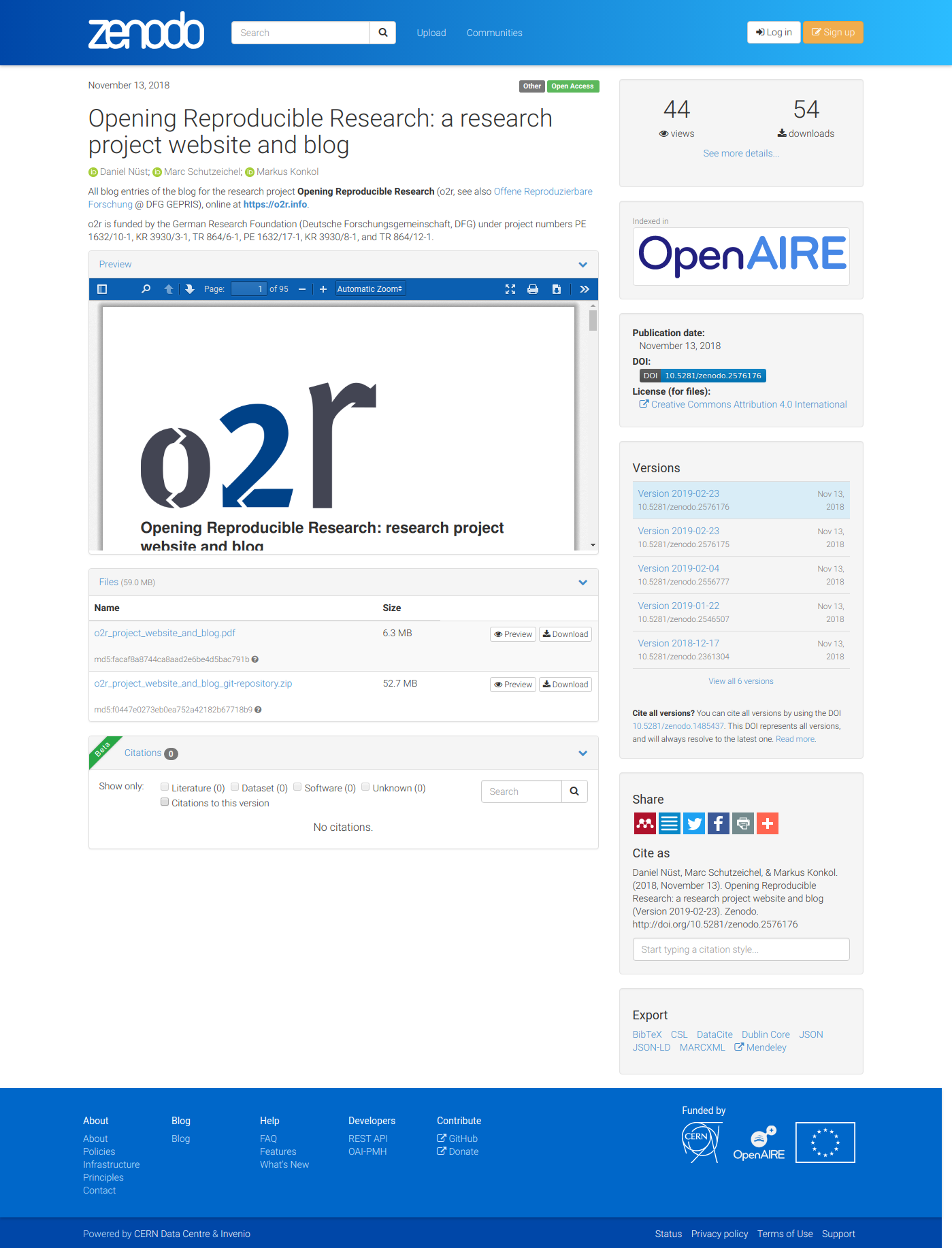 Opening Reproducible Research: research project website and blog · o2r